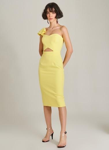 Agenda Volan Detaylı Elbise Sarı
